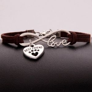 Jewelry - Dog Pet Paw Infinity Love Brown Leather Bracelet